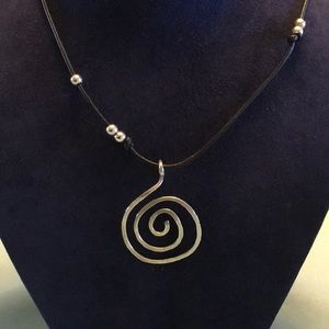 Jewelry - Handmade sterling silver black leather